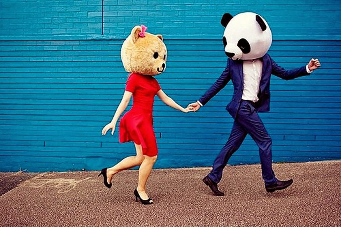 Couple With Funny Bear Masks